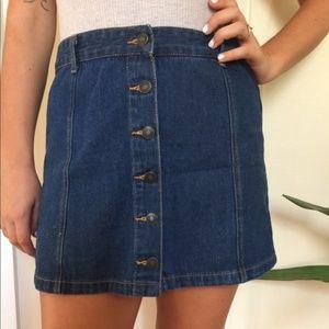 Forever 21 Dark Denim Button Up Skirt